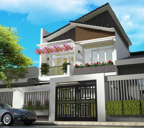 Nhà 2 tầng mái ngói lệch tạo điểm nhấn cho ngôi nhà của bạn.