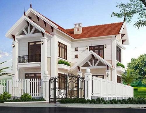 Những mẫu nhà 2 tầng mái ngói chữ L phù hợp với những căn nhà có diện tích xây dựng rộng.