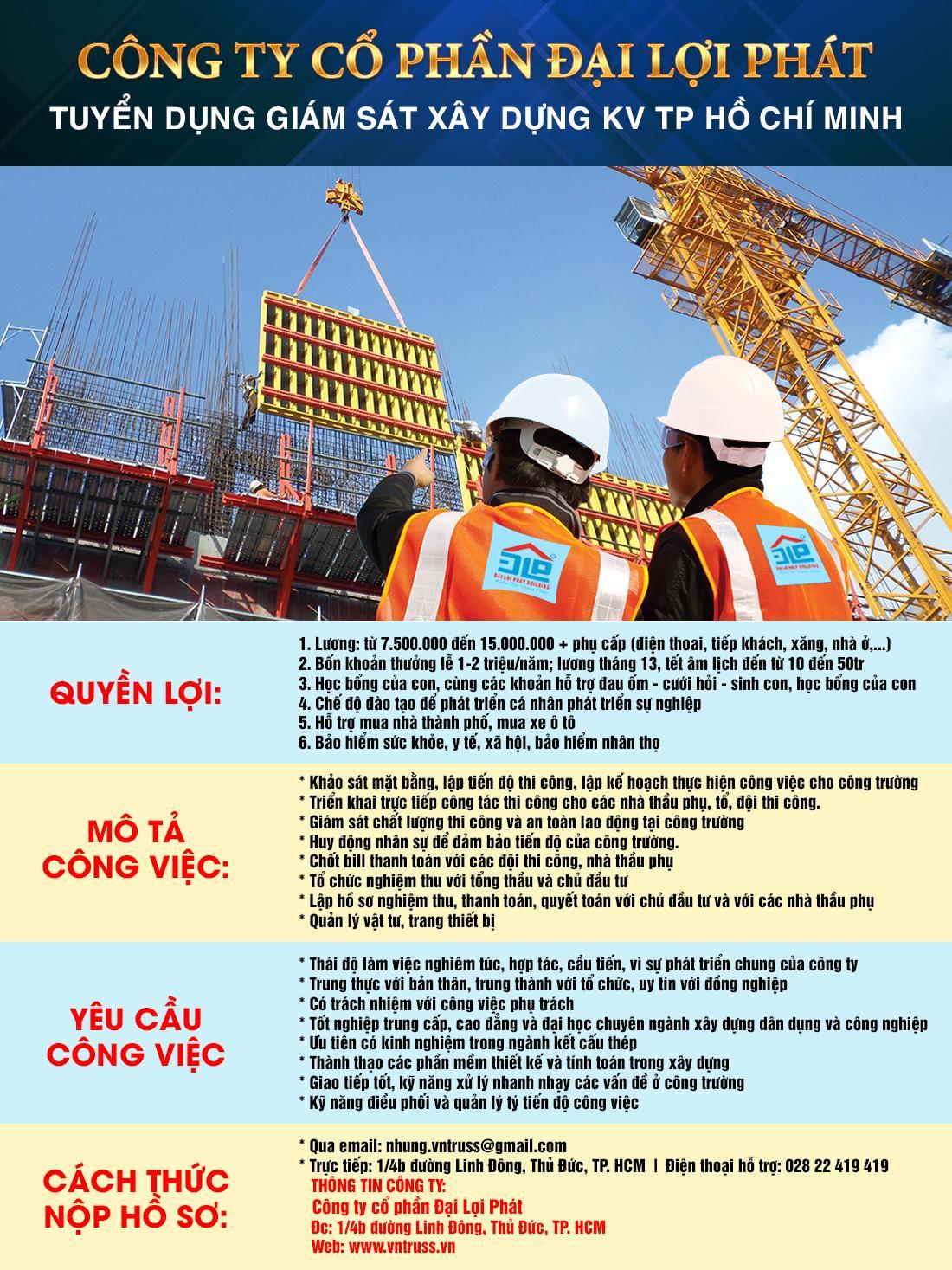 Tuyển kỹ sư giám sát xây dựng dân dụng và kết cấu thép