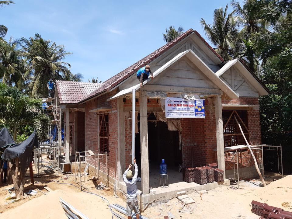 VNTRUSS Thi Công Mái Nhà Kiểu Thái Lợp Ngói ở Hoài Nhơn Bình Định