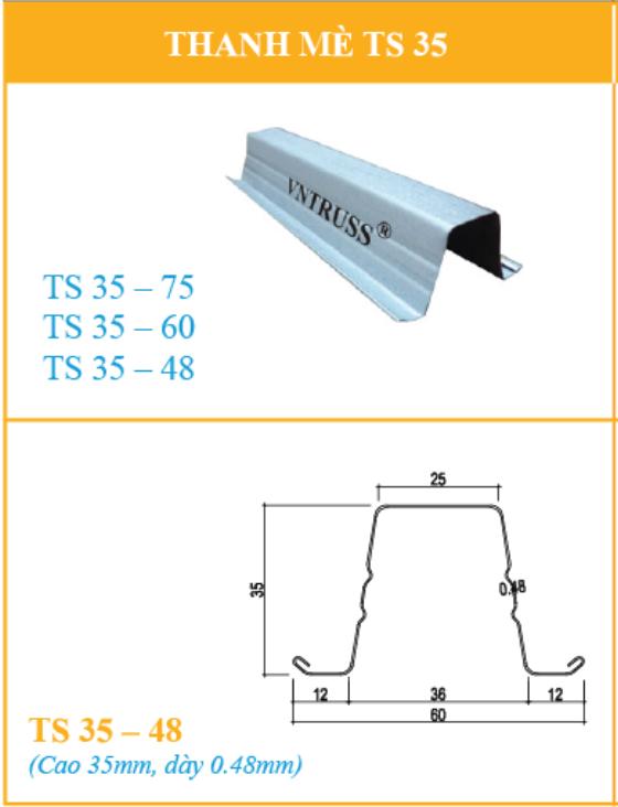 TS3548 thanh li tô lợp ngói thép siêu nhẹ chống rỉ vntruss