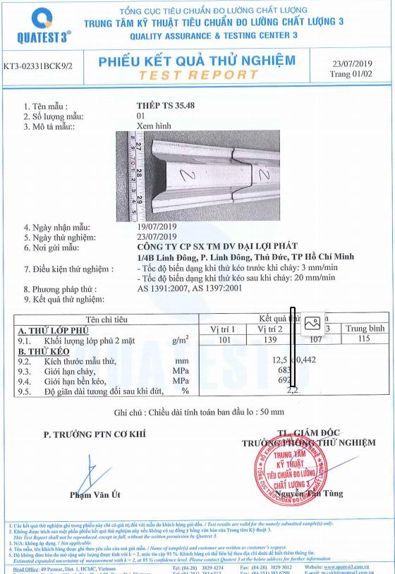 Hồ sơ kiểm định thanh thép siêu nhẹ chống rỉ TS3548 VNTRUSS