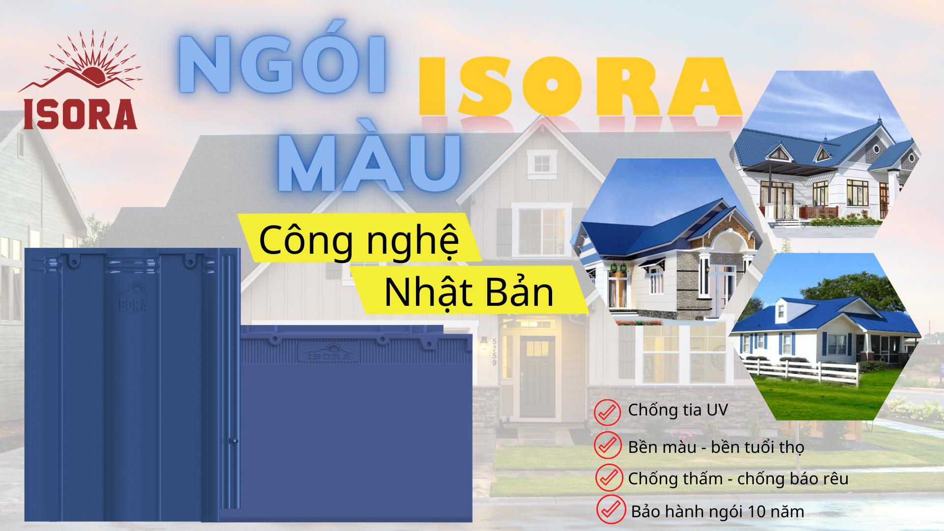 Ngói ISORA màu xanh dương cho ngôi nhà ấn tượng và nổi bật.